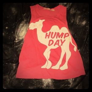 "Pink crop top with a camel saying ""hump day"""